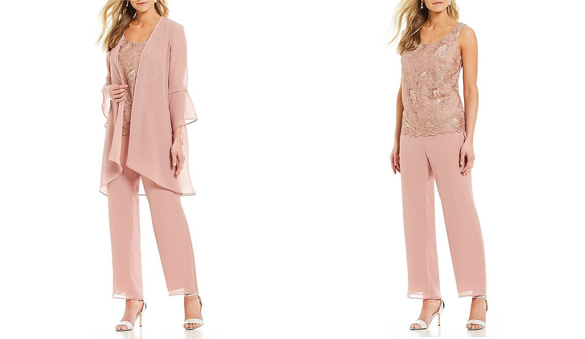three piece rose gold Dillards pant suit with lace detailed shirt