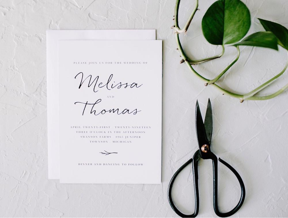 weathered twig minimalist wedding invitation