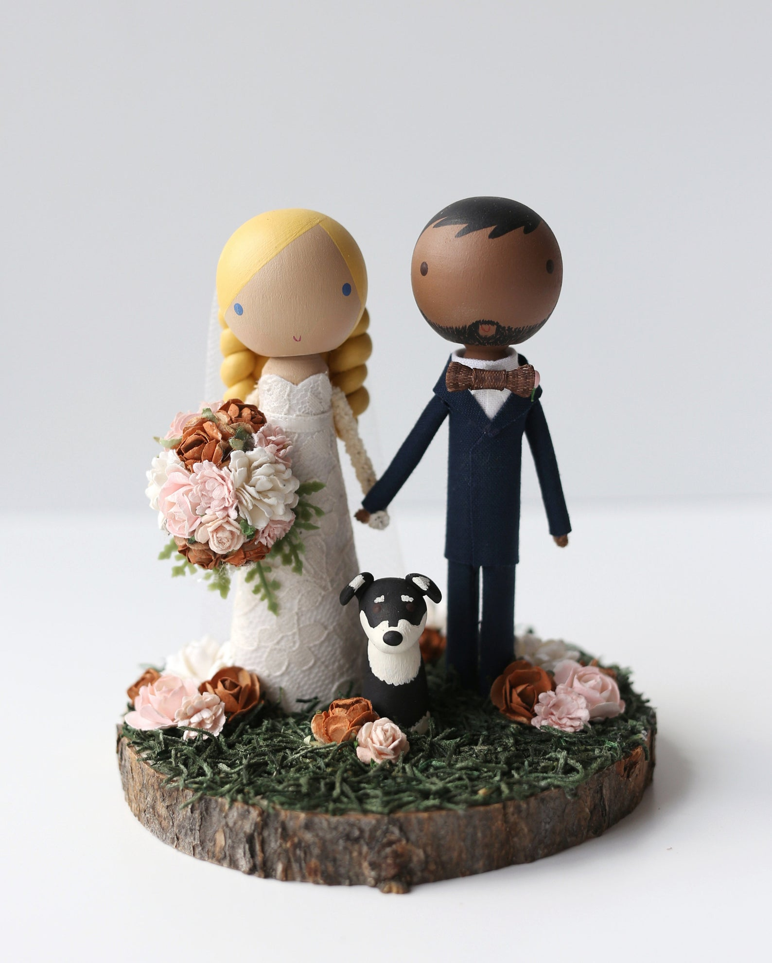 wooden figurine unique wedding cake topper