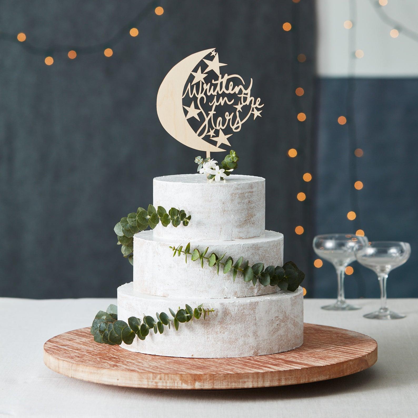 written in the stars wedding cake topper
