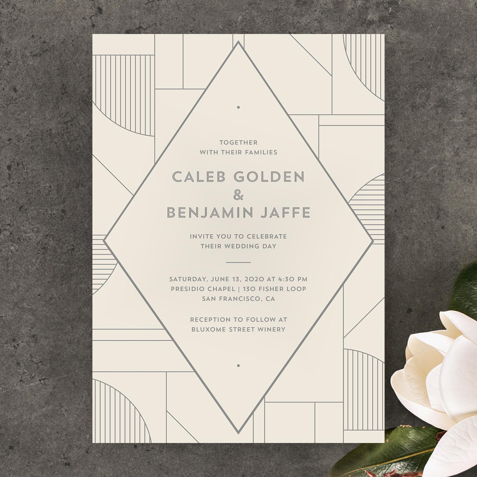 zola art deco minimal wedding invitation