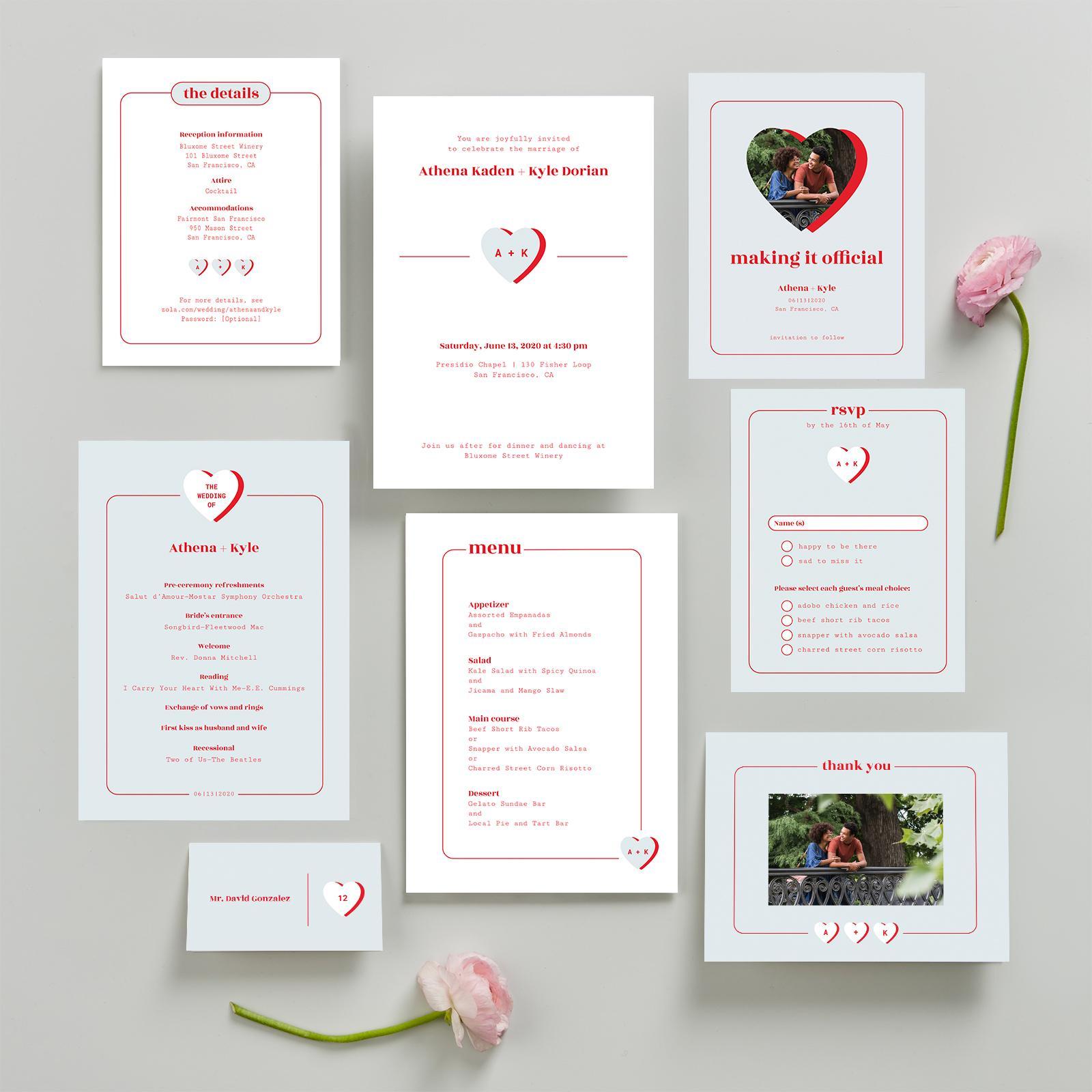 zola fun heart wedding invitation