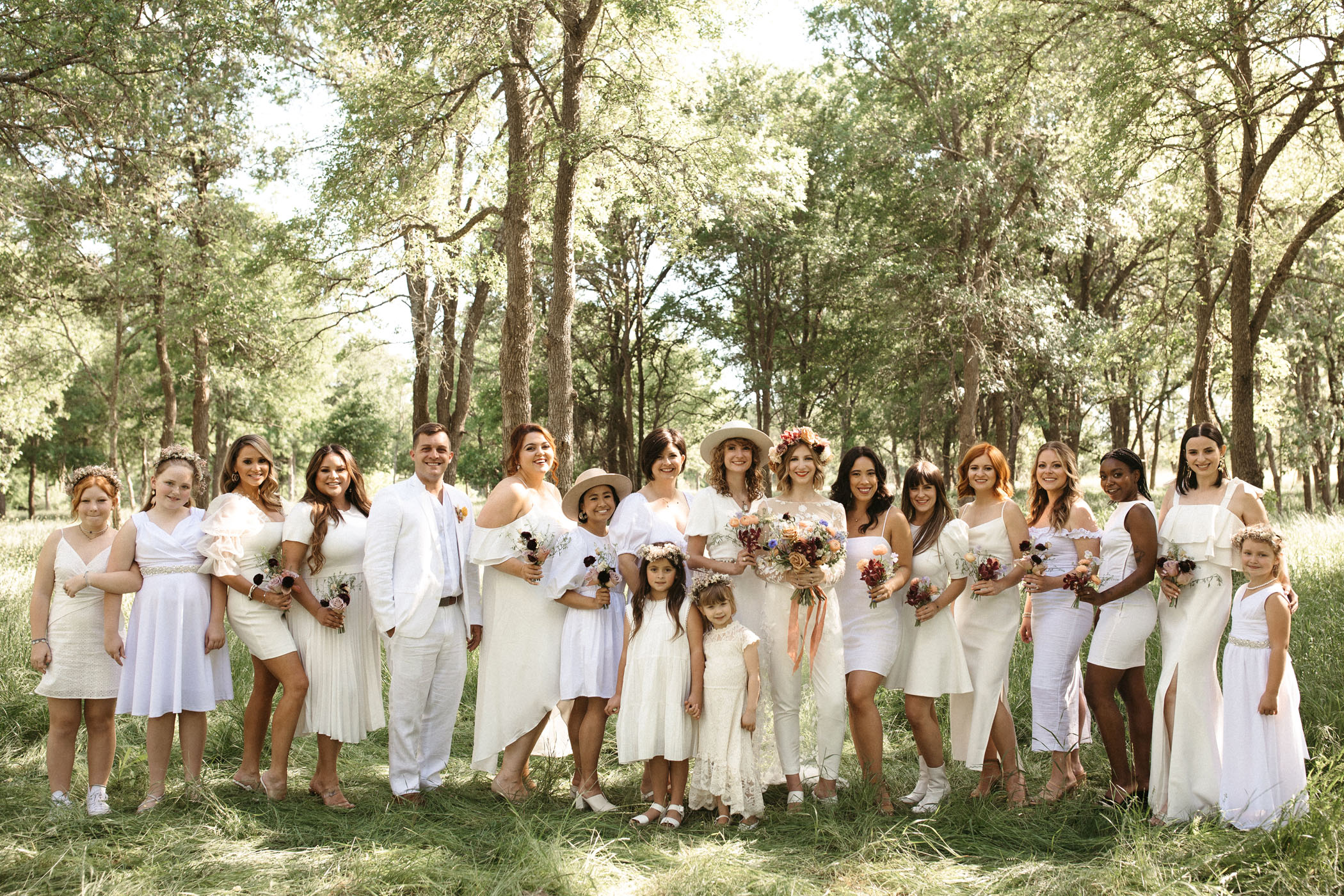 White Wedding Party Attire
