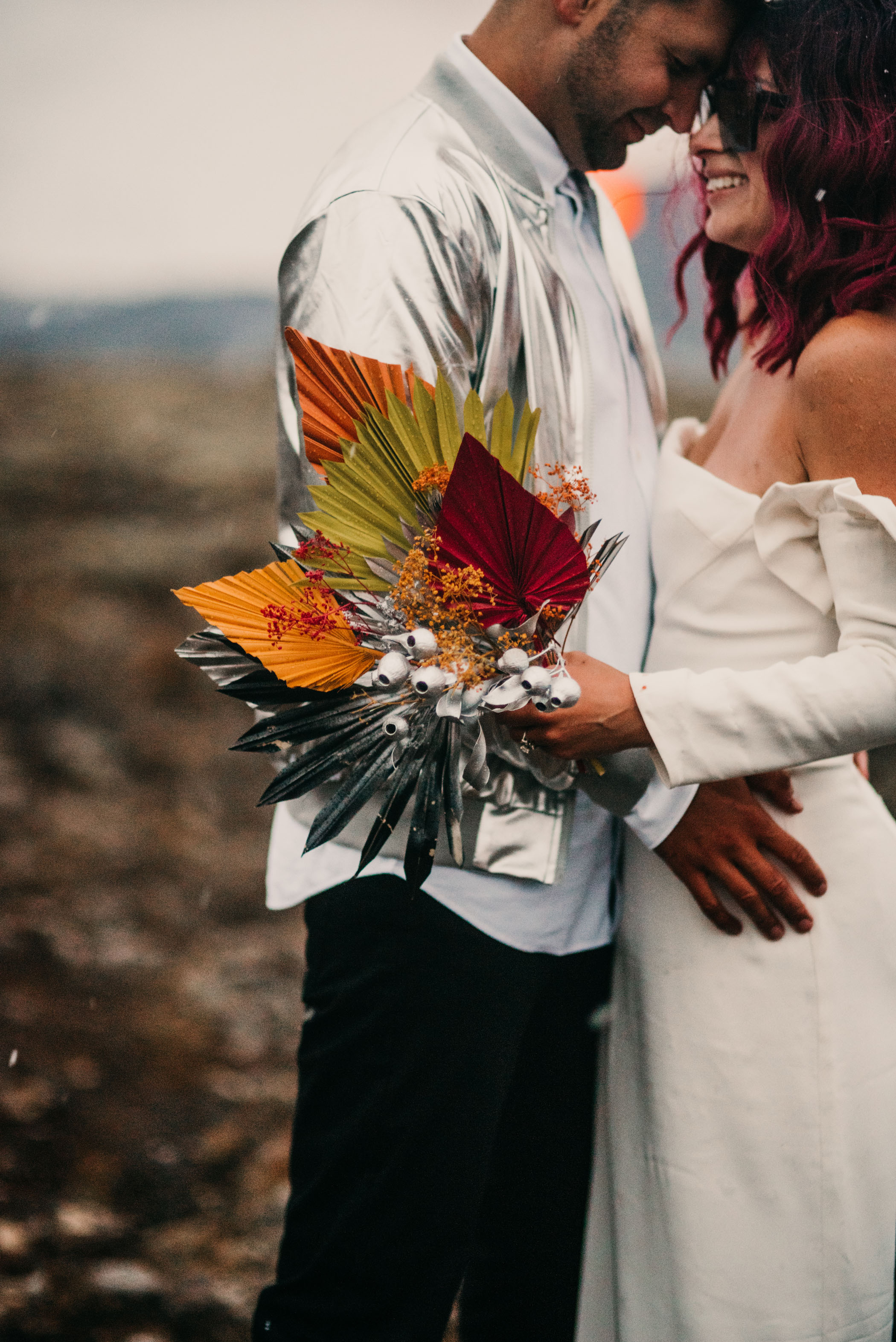 colorful dried floral bouquet for an elopement