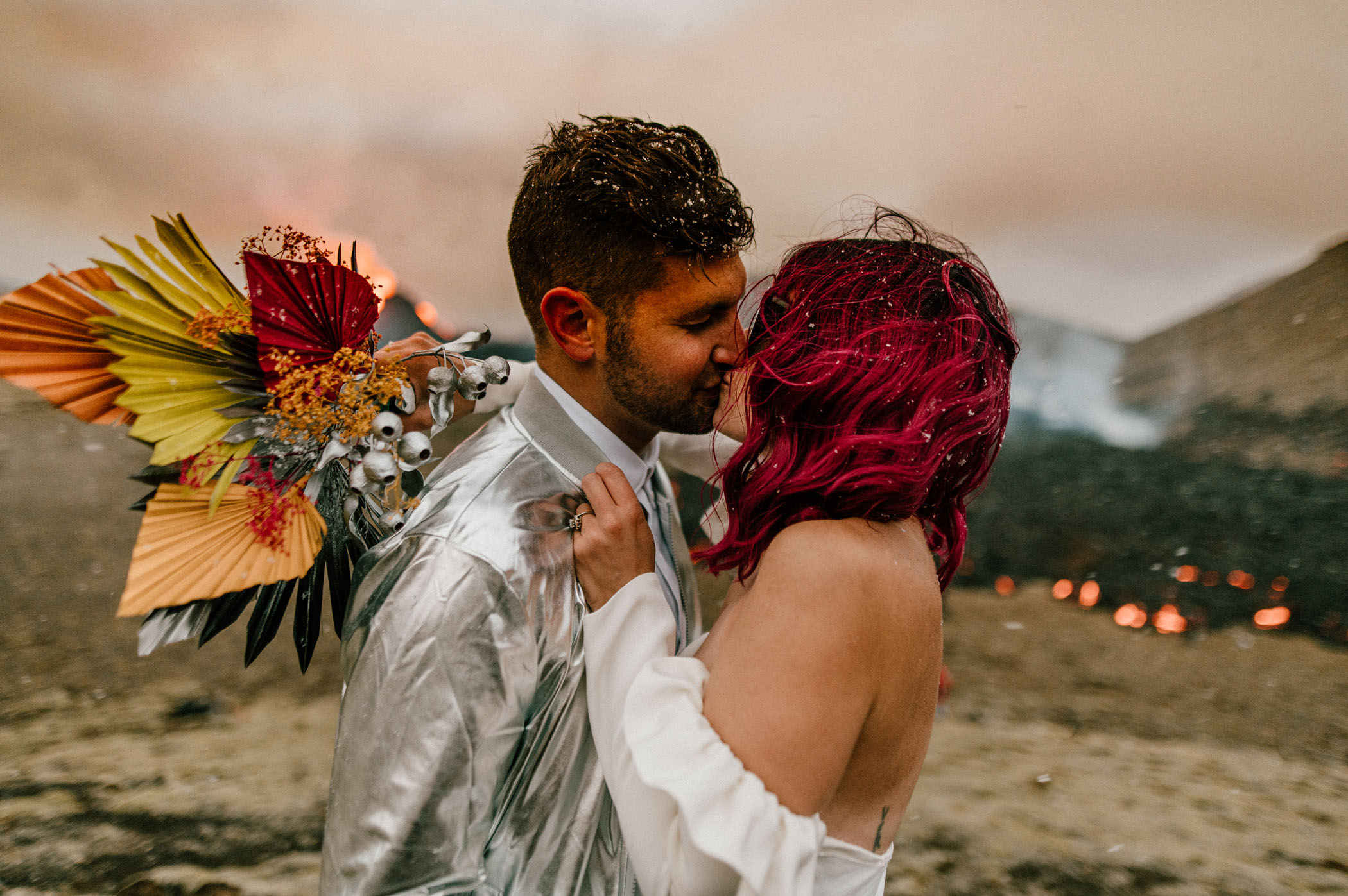 Volcano Wedding in Iceland with Colorful Dried Bouquet
