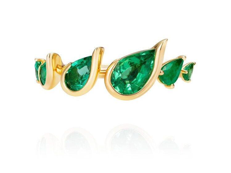 18K yellow gold nature inspired multi gem pear shaped emerald ring