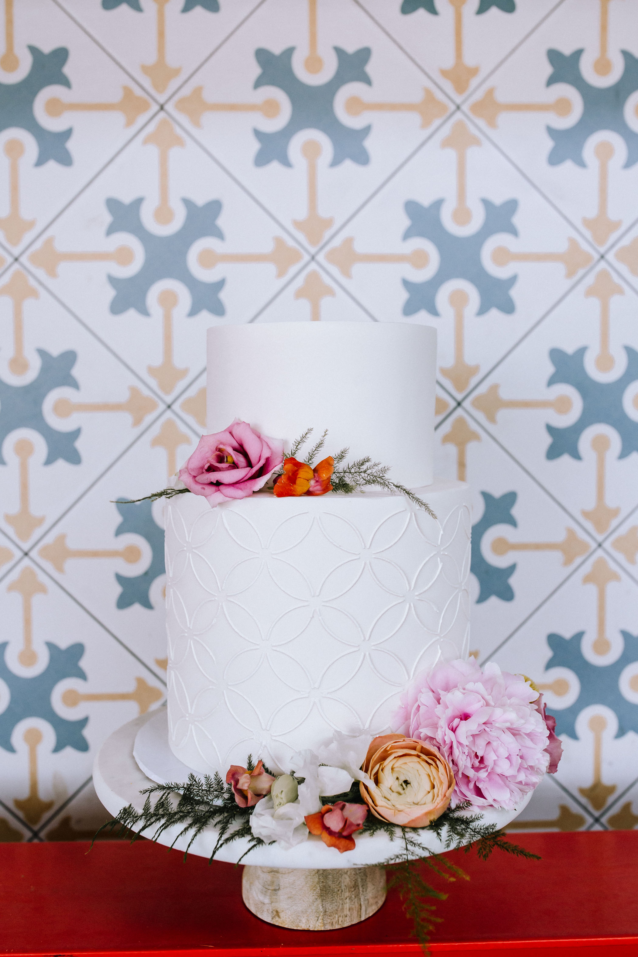 tiled wedding cake