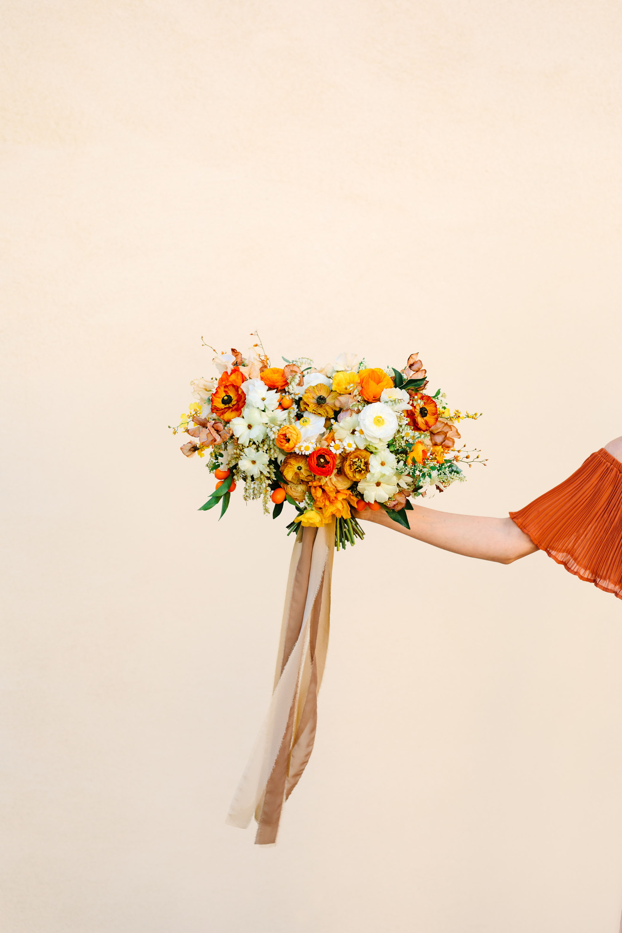 orange ranunculus bouquet