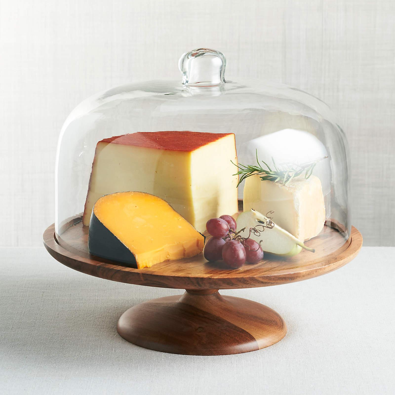 acaia cake dome and wood pedestal wedding gift