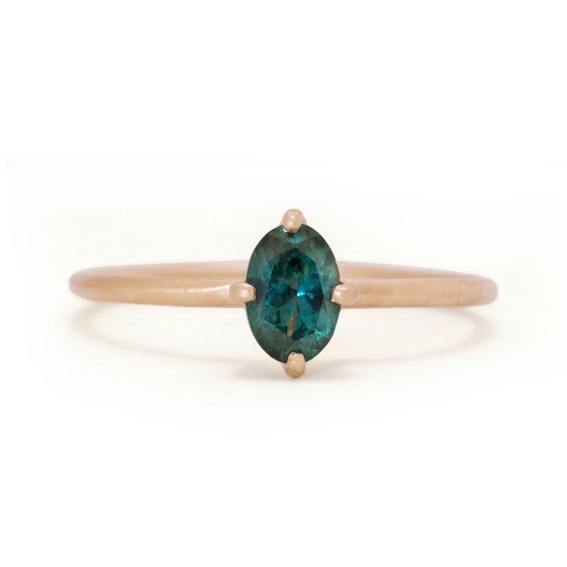 Montana sapphire gemstone non diamond engagement ring