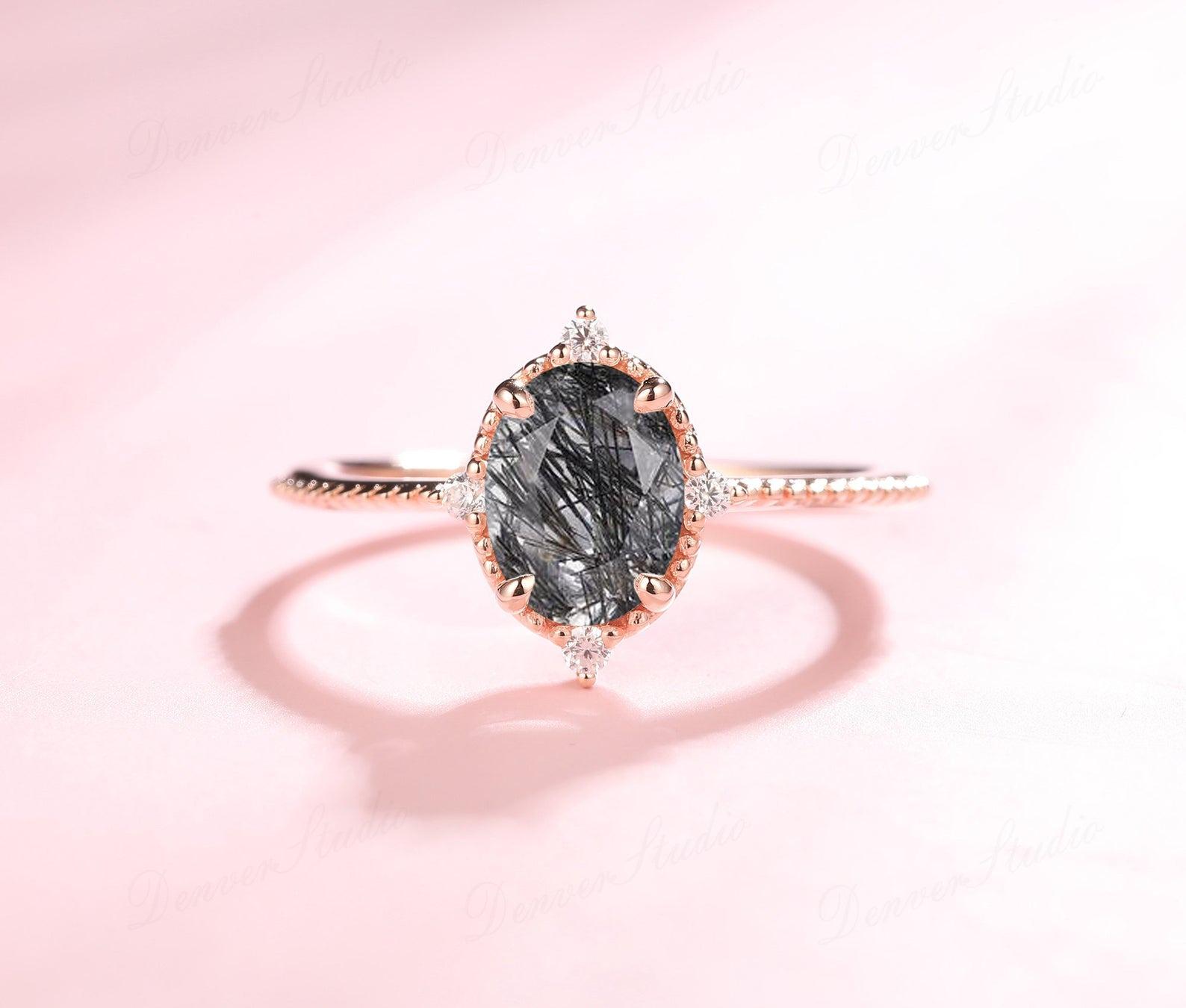 rutilated quartz alternative engagement ring