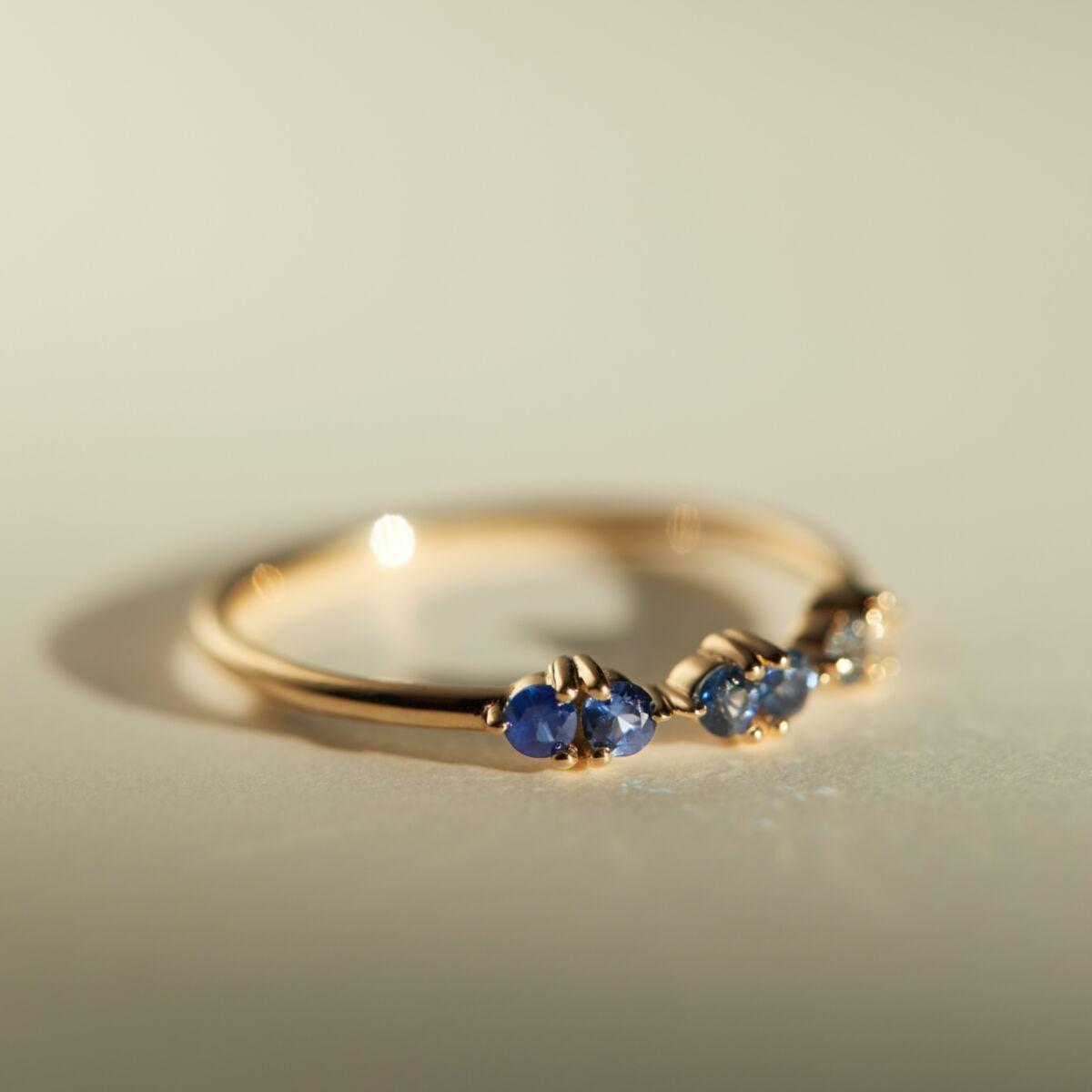 blue gradient gemstone engagement ring