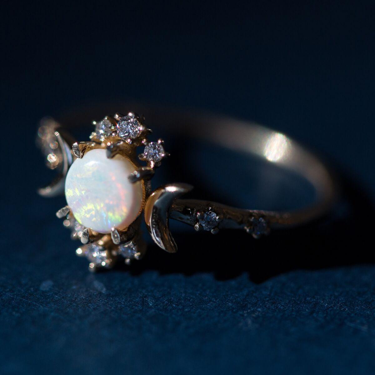 celestial inspired opal gemstone engagement ring