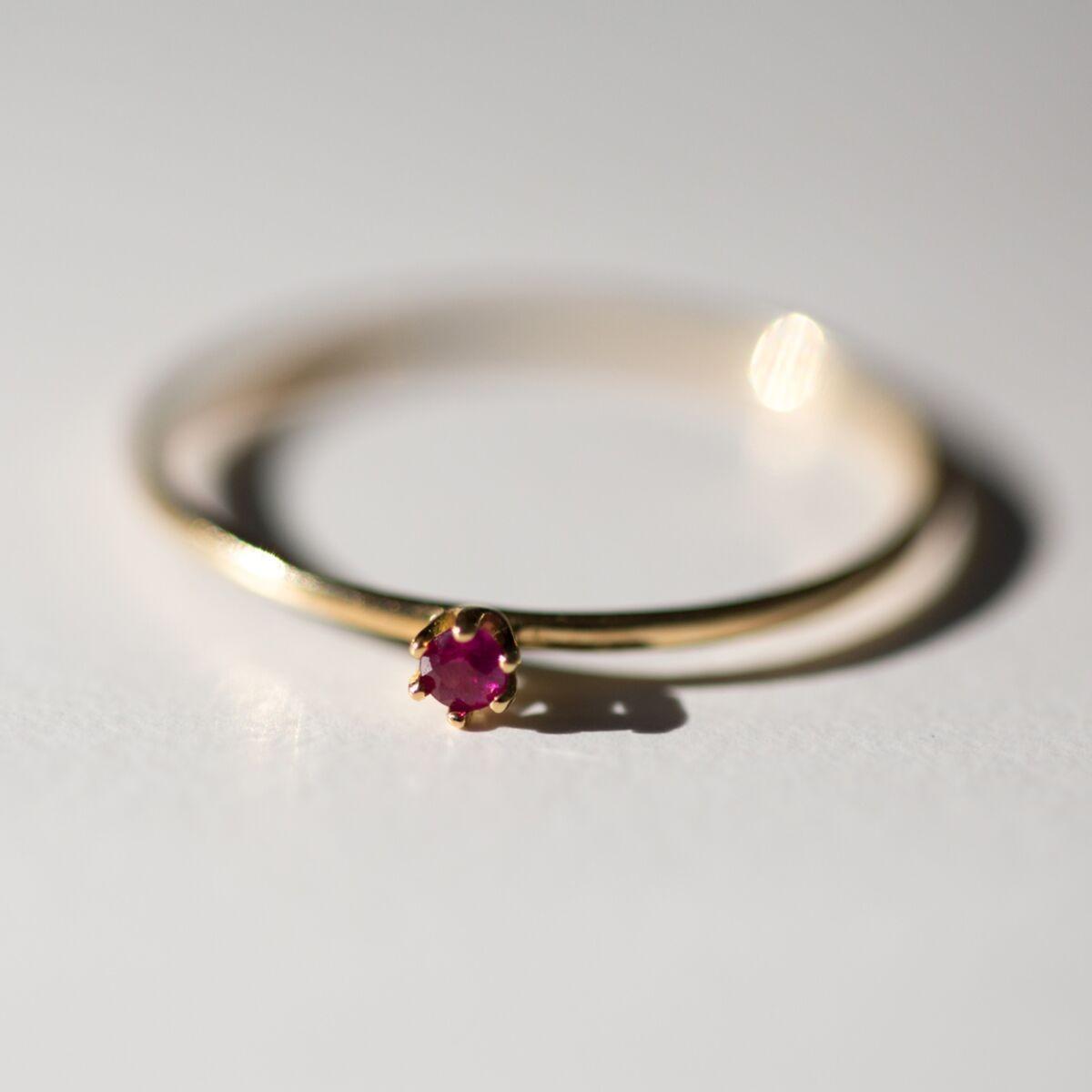minimalist ruby gemstone non diamond engagement ring