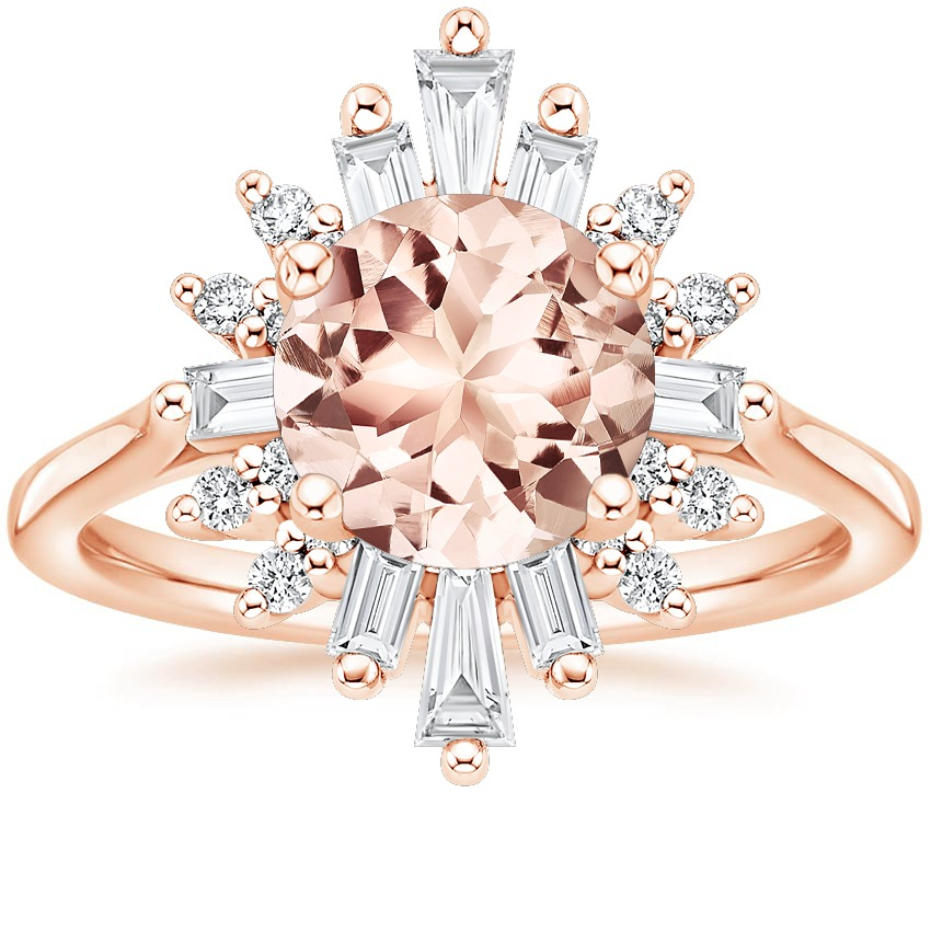 morganite starburst alternative engagement ring