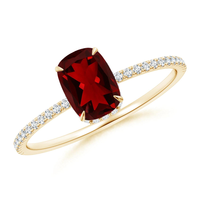 thin shank cushion cut garnet gemstone ring with thin studded gold band