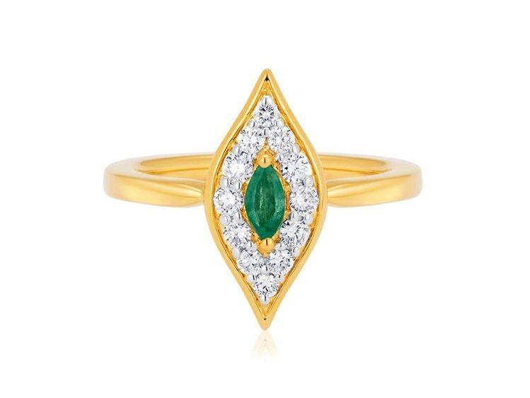 art nouveau vintage inspired emerald engagement ring