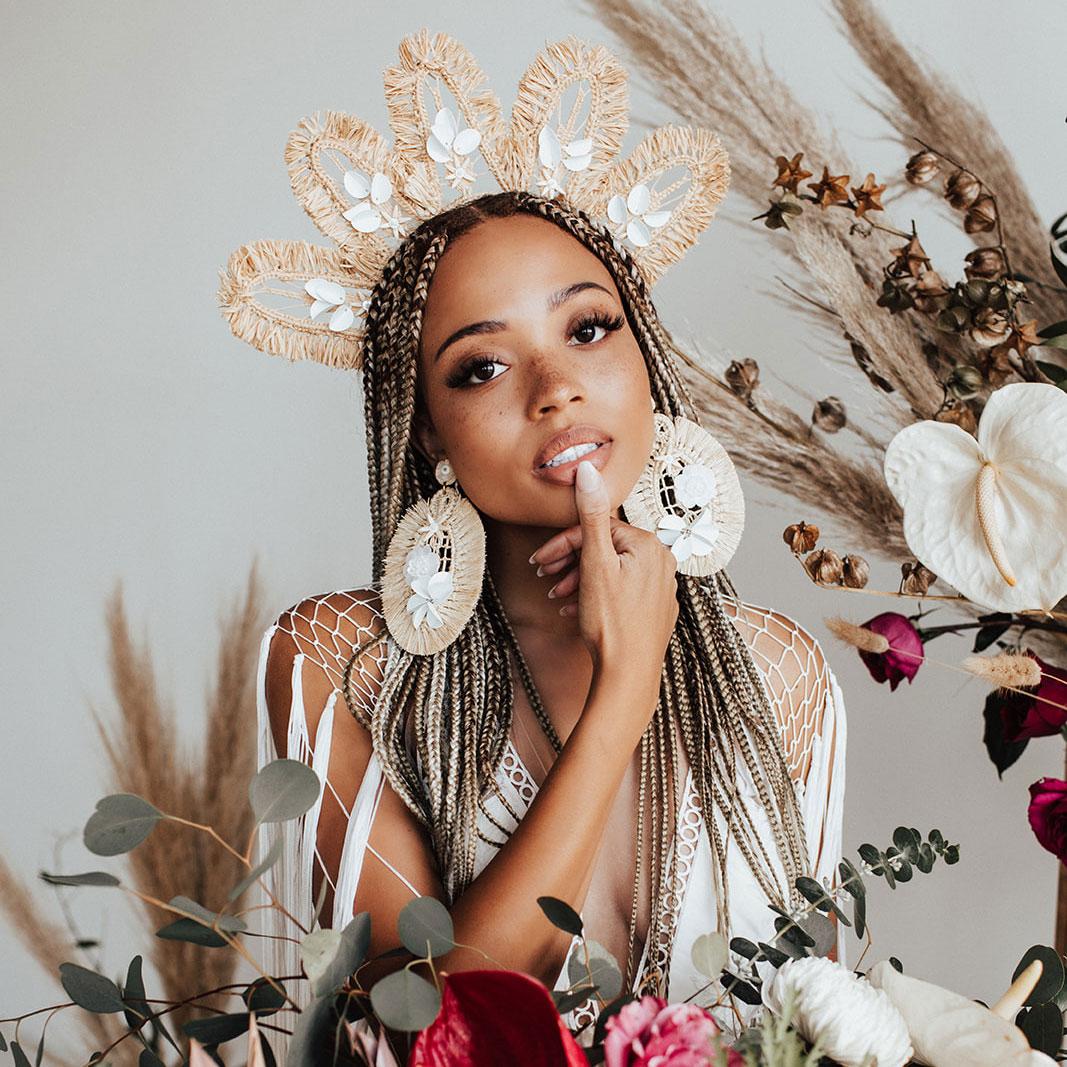 bride in raffia boho bridal crown
