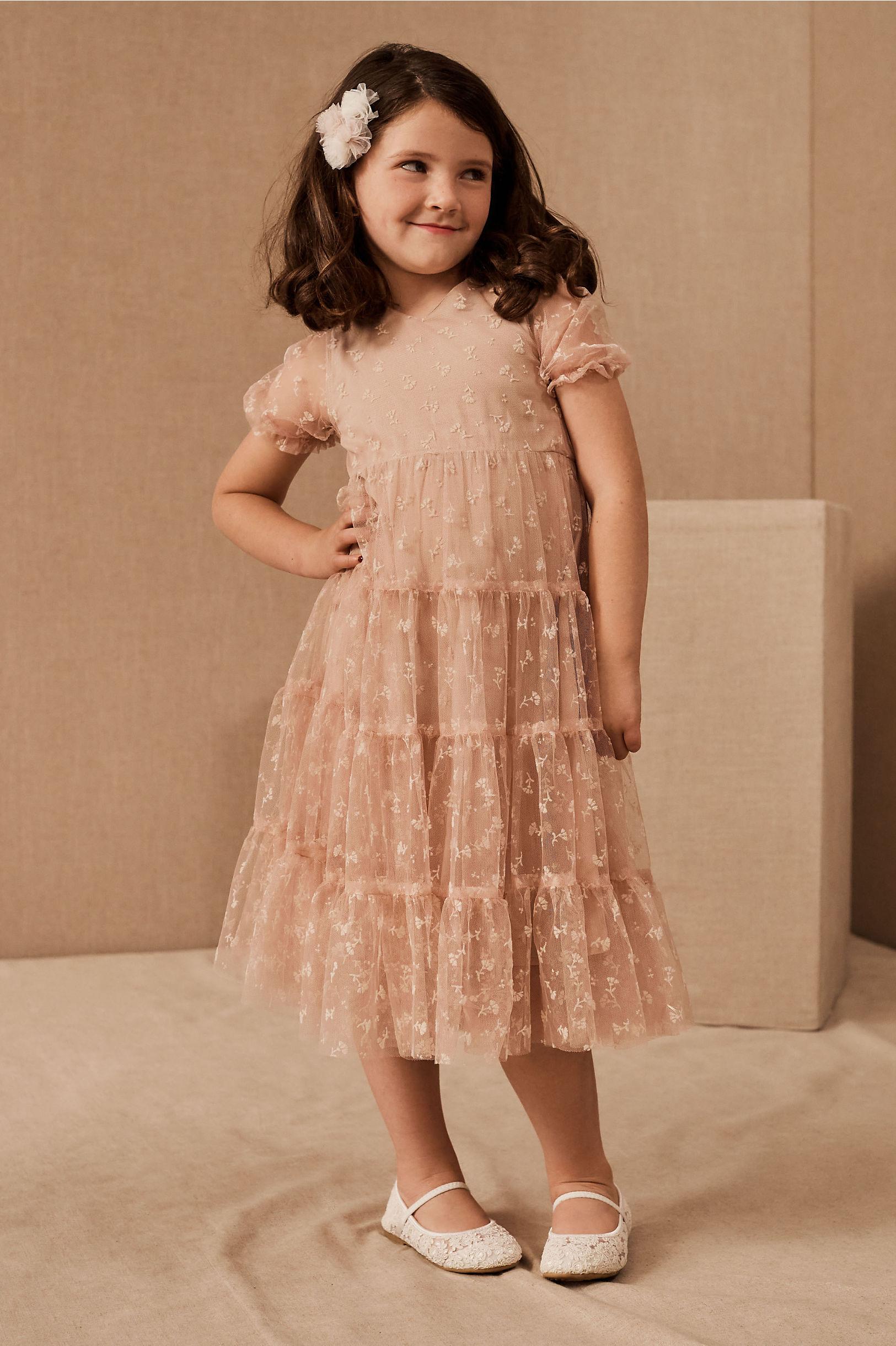 blush boho flower girl dress