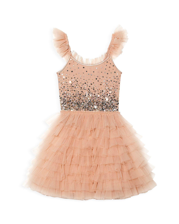 blush sequin flower girl dress