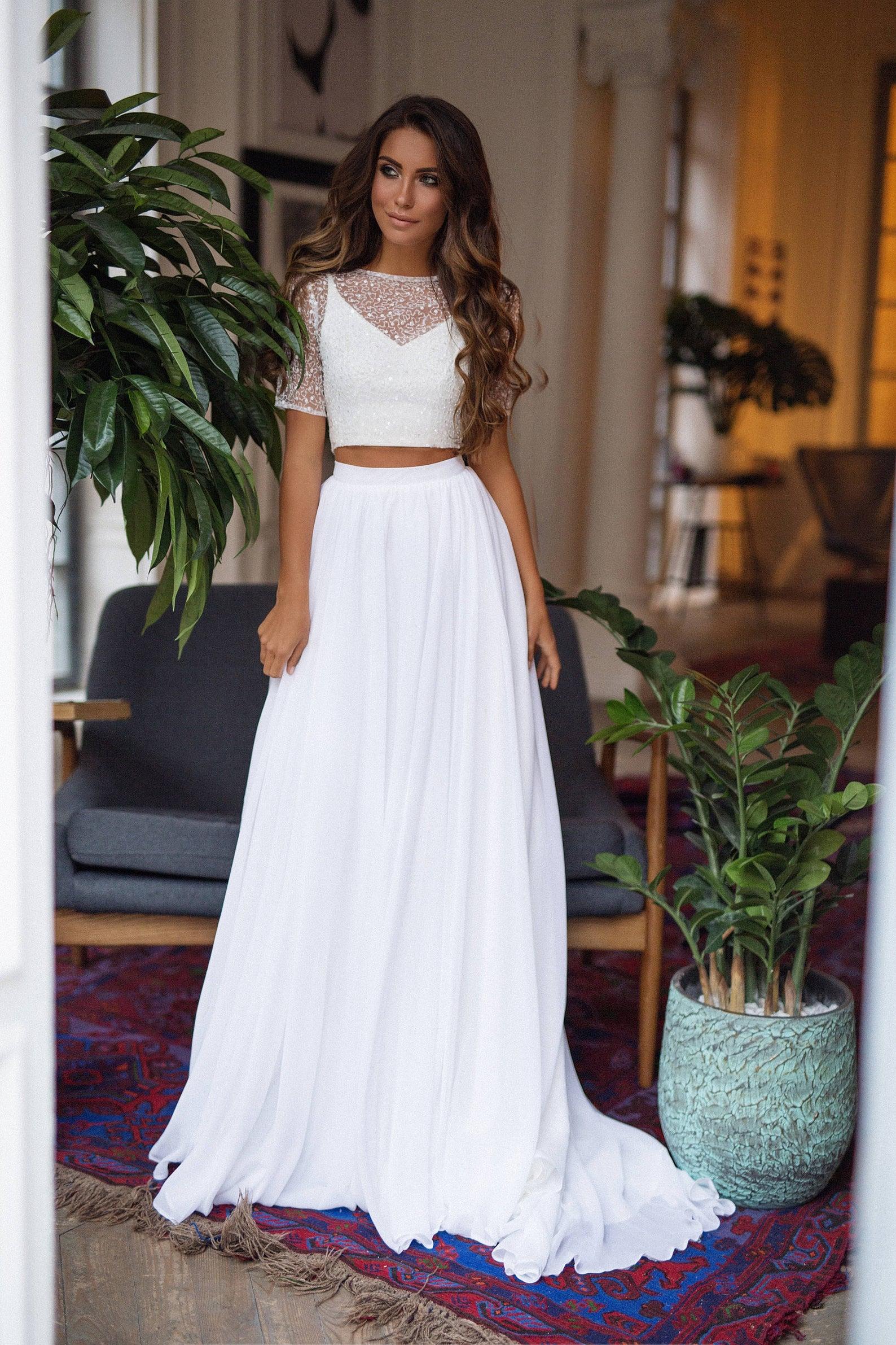 two piece wedding dress boho