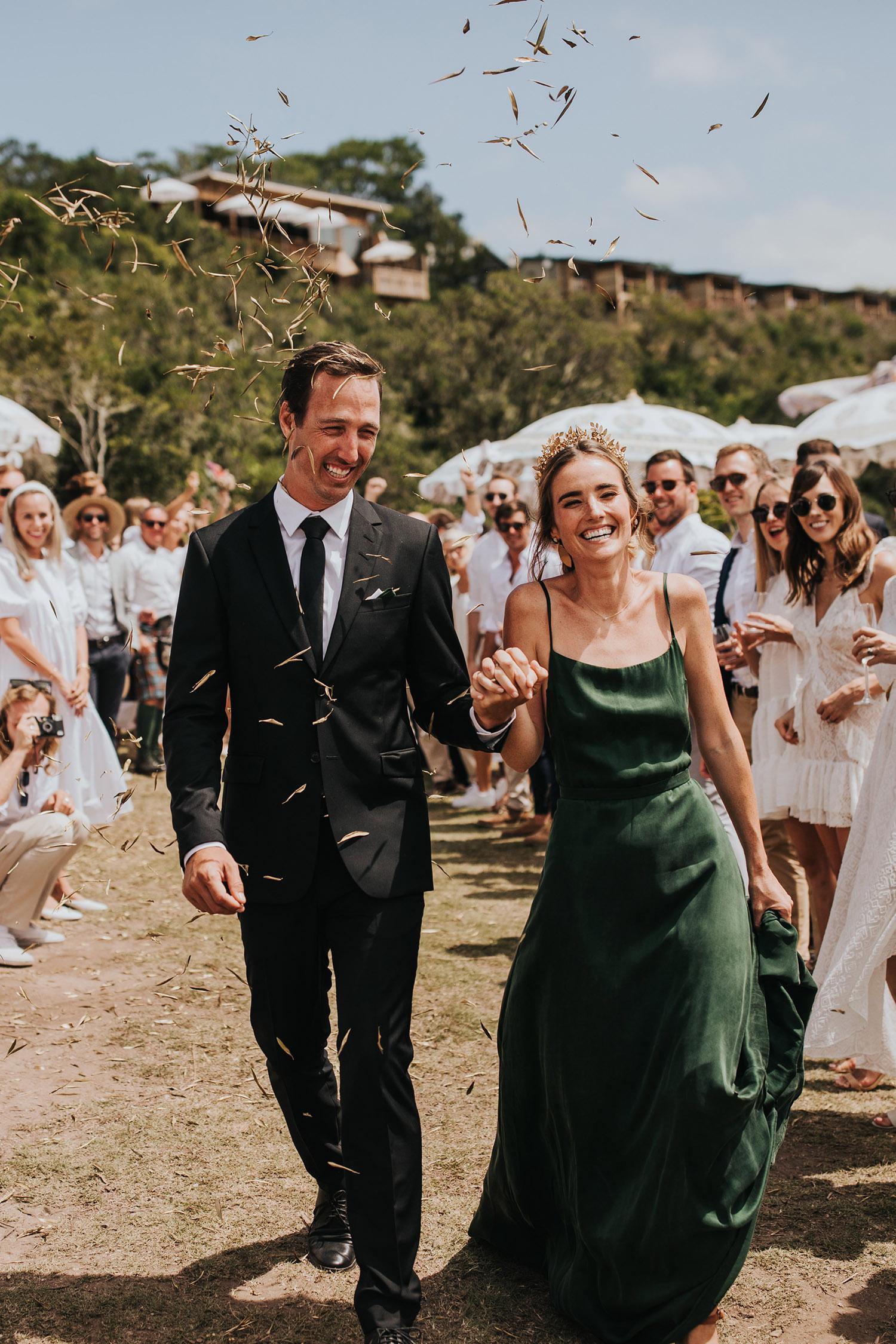 bride in green wedding dress