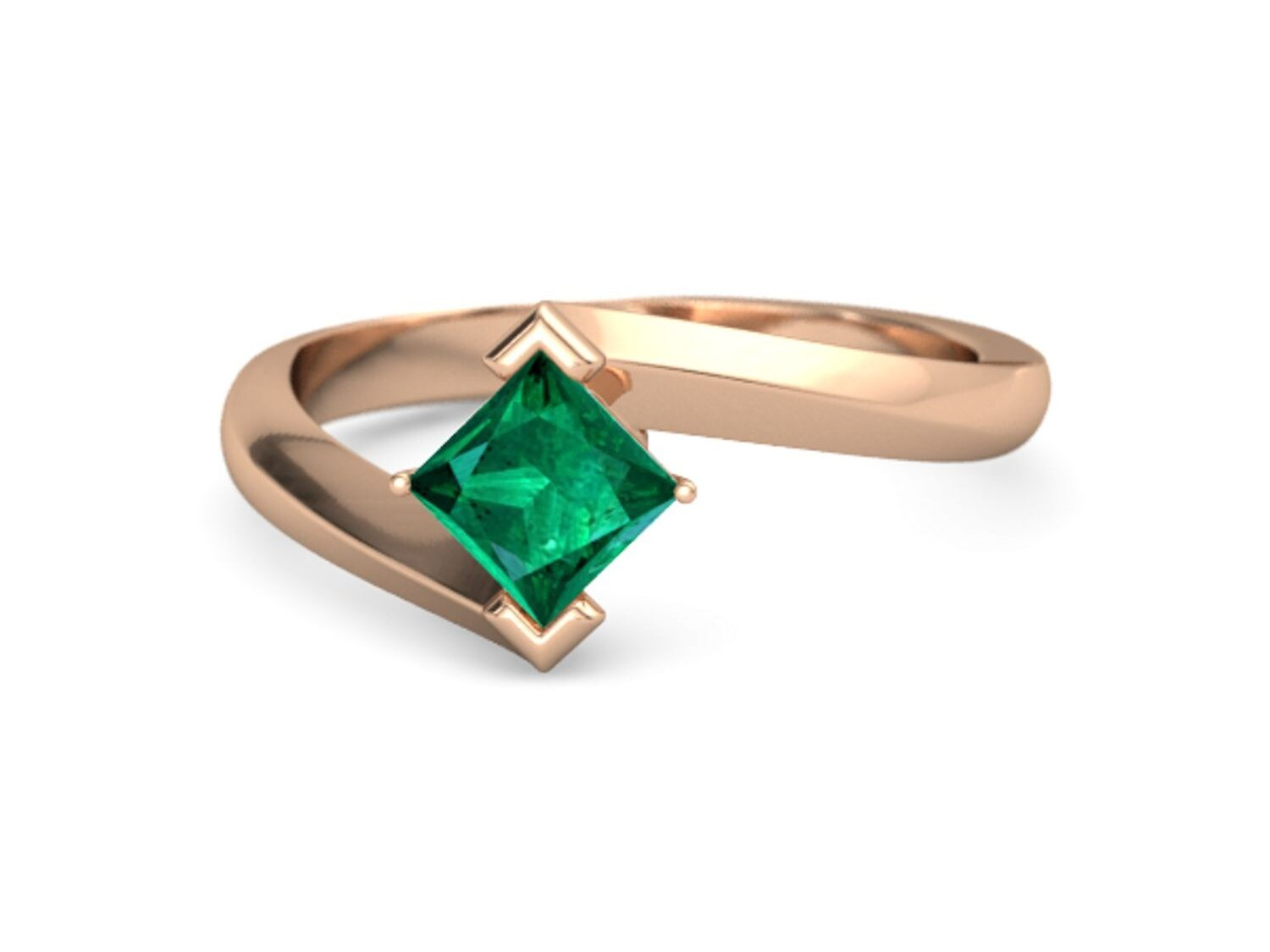 bypass style rose gold princess cut emerald ring