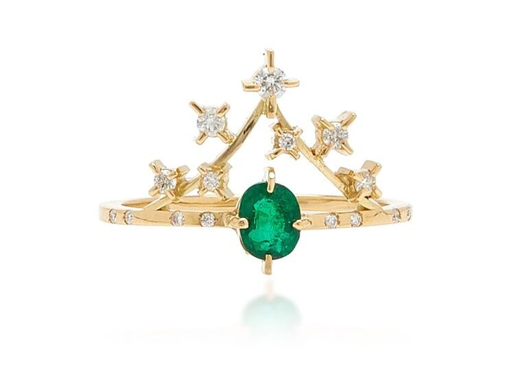 crown shaped emerald band