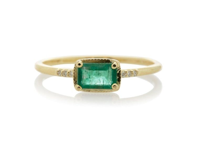 delicate gold banded emerald cut emerald