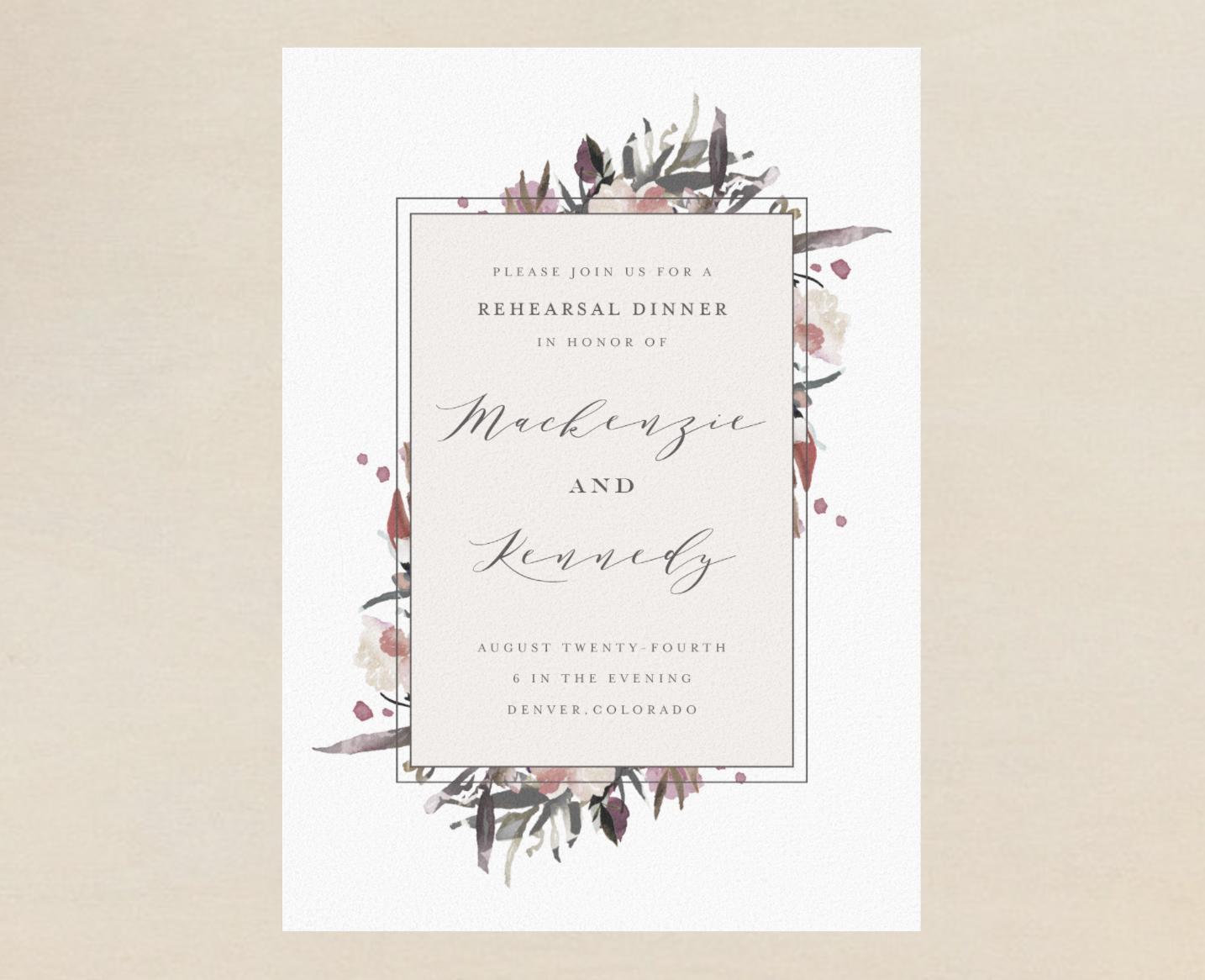 modern floral wedding rehearsal dinner invitation