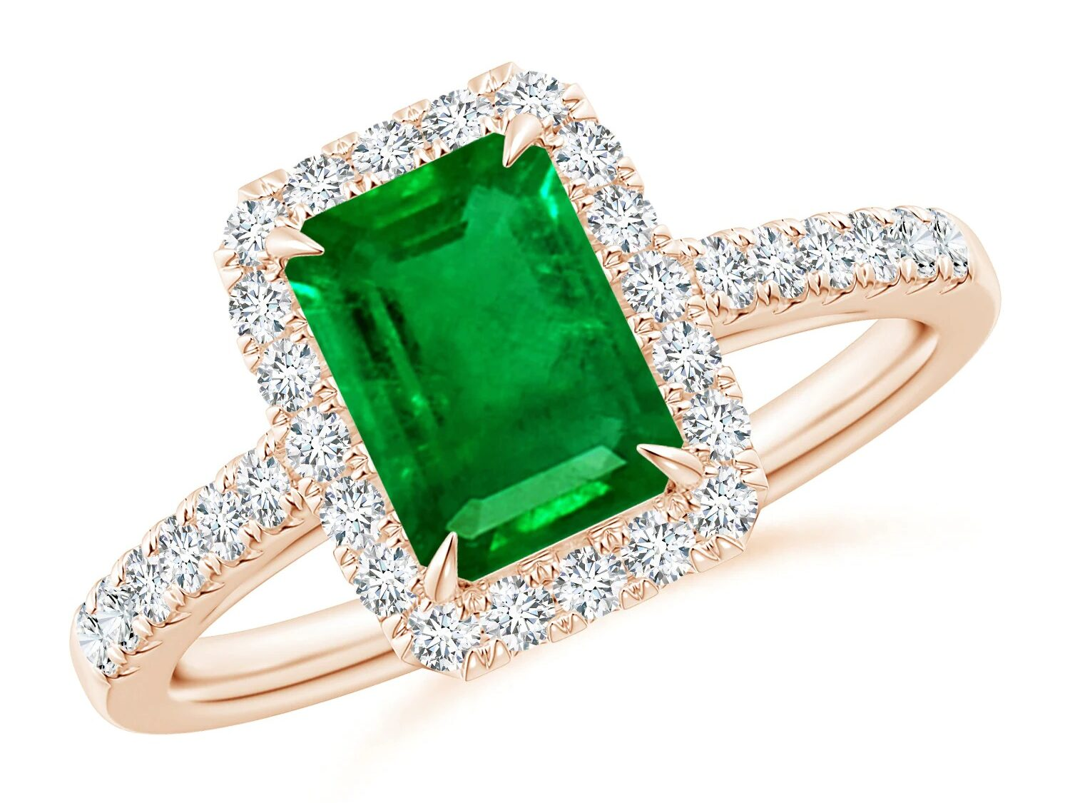 emerald cut emerald engagement ring with diamond halo