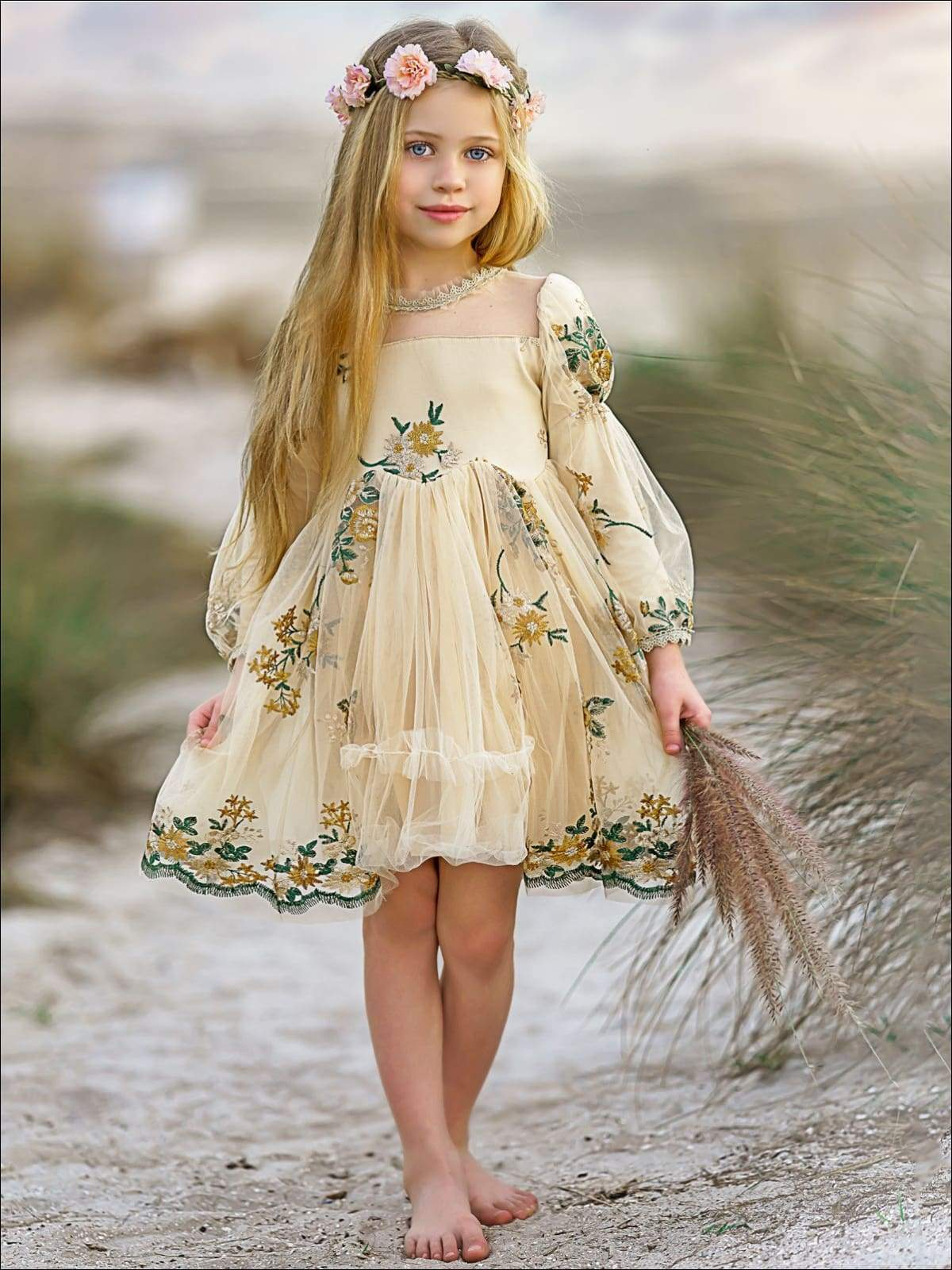 girls flower embroidered lace dress
