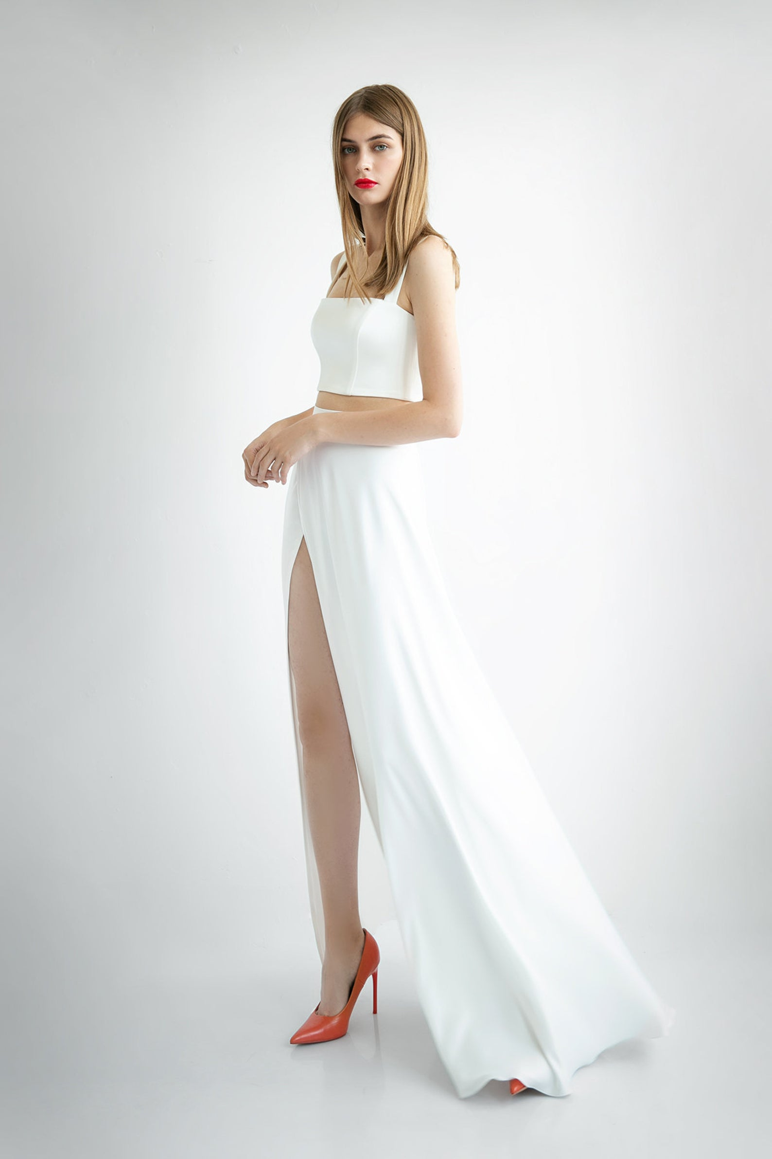 high slit bridal skirt and crop top
