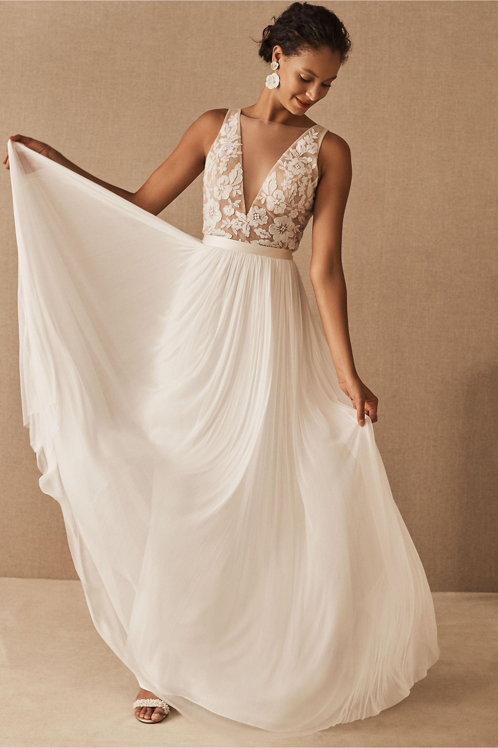 bhldn chiffon bridal skirt