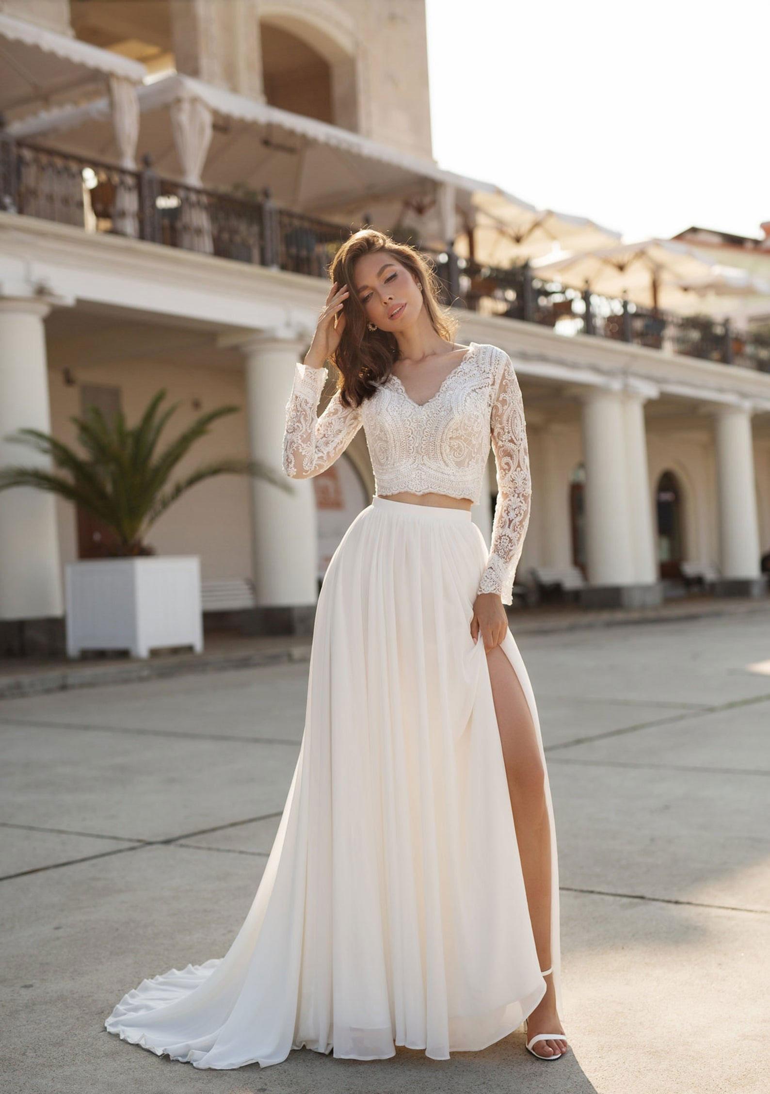 glam two piece wedding dress