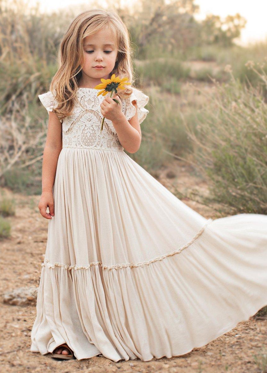 lace cotton boho flower girl dress