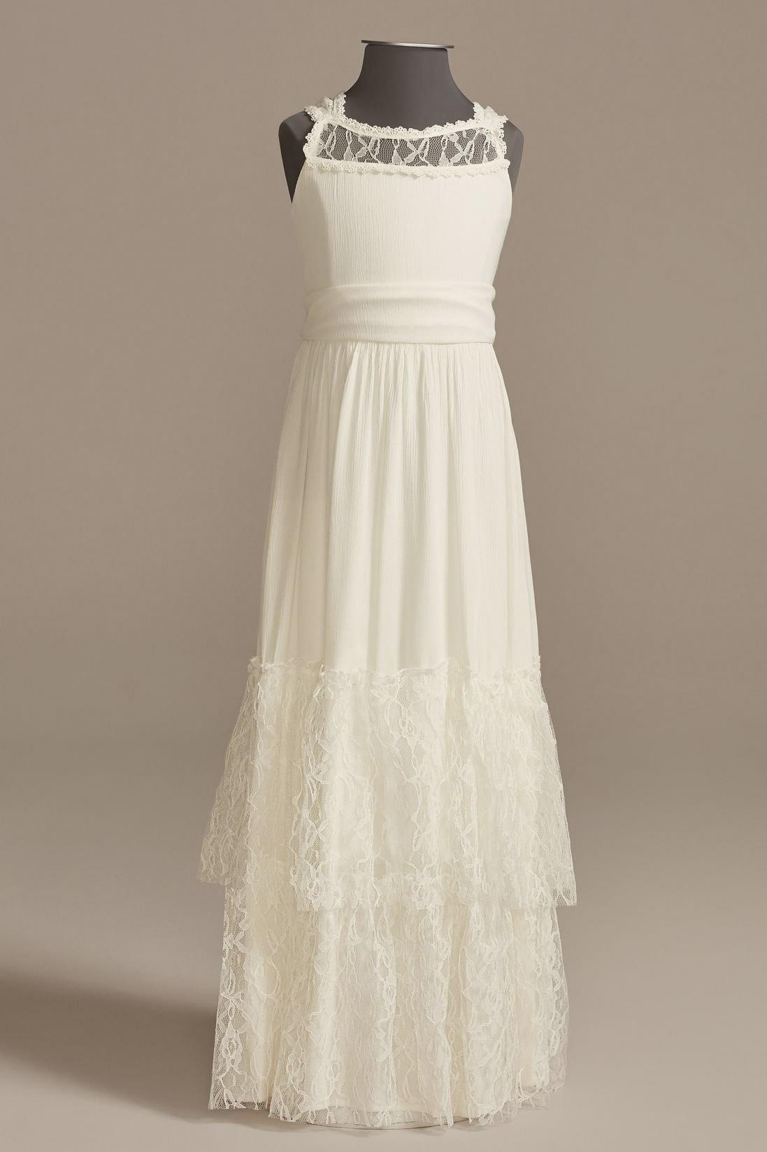 lace ruffled flower girl dress