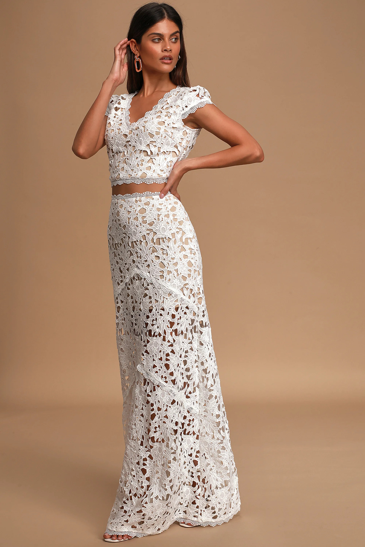 crochet lace two piece wedding dress