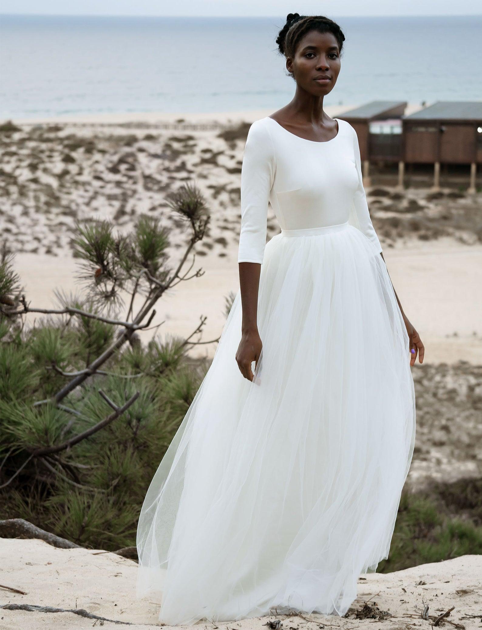 romantic two piece wedding dress