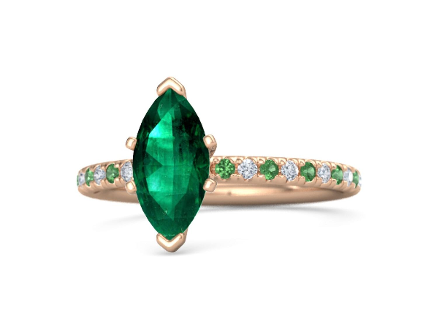 marquise emerald 14K rose gold emerald engagement ring