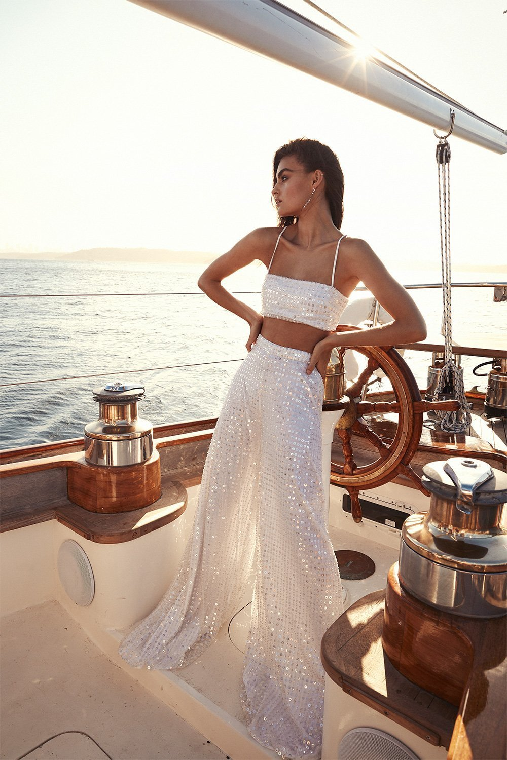 sequin bridal two piece outfit