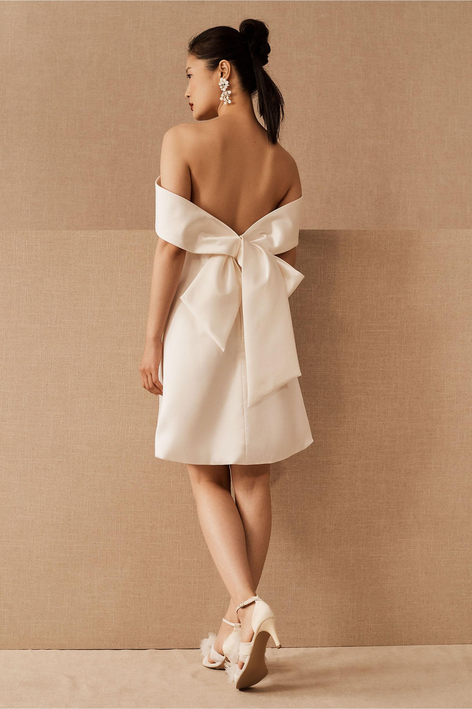 mini reception dress off the shoulder back bow