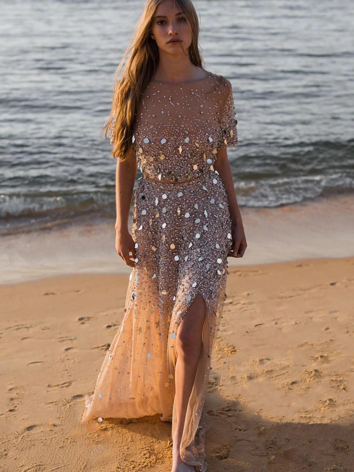 beach two piece wedding dress
