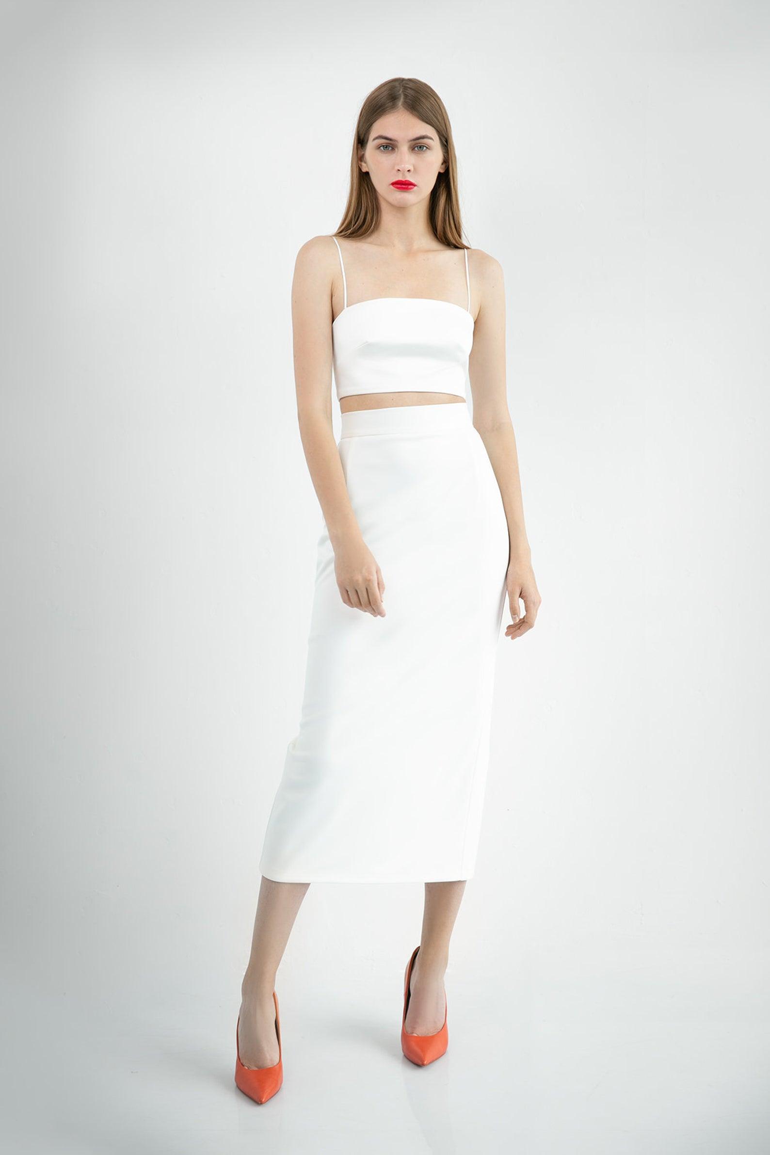 midi two piece wedding dress