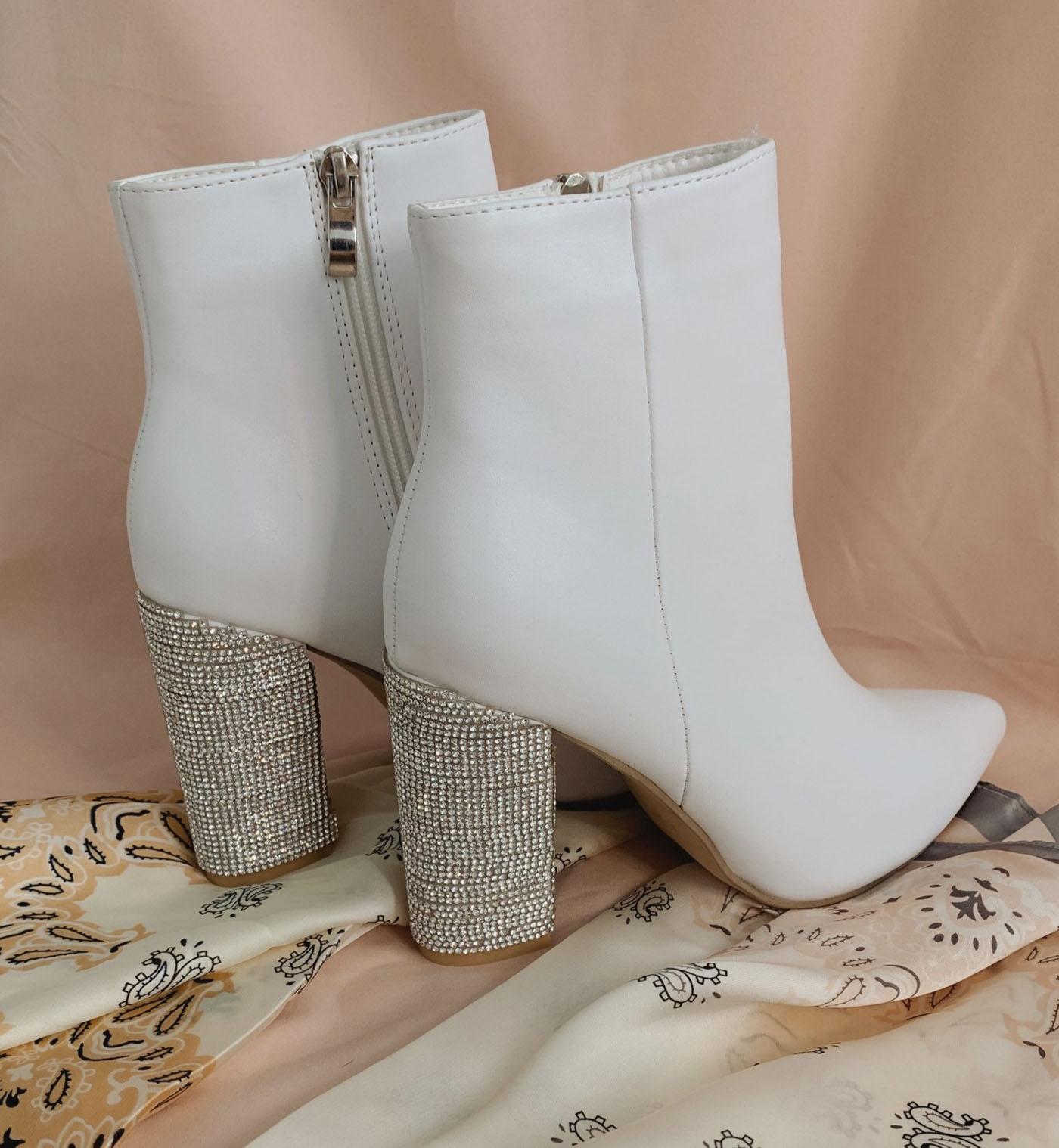 sparkle heel wedding booties