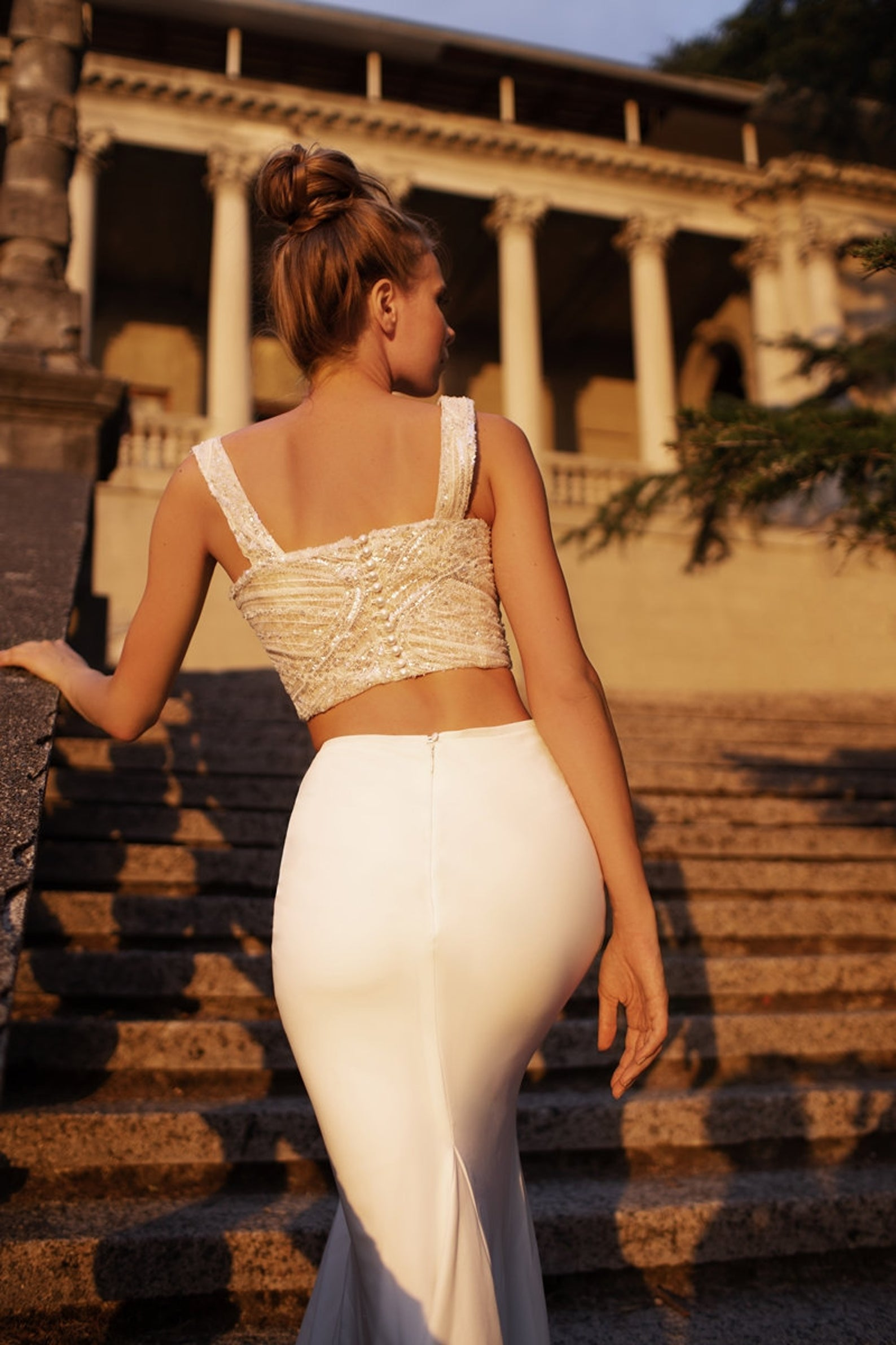 fitted bridal skirt and top