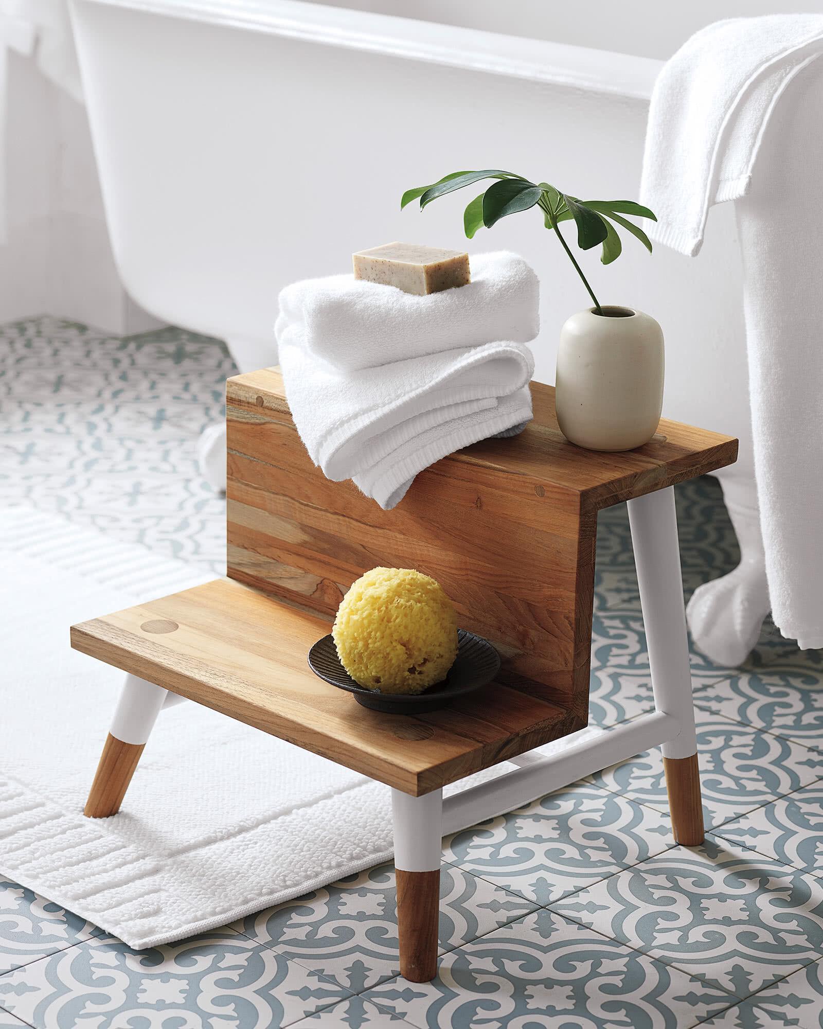 teak wooden step stool