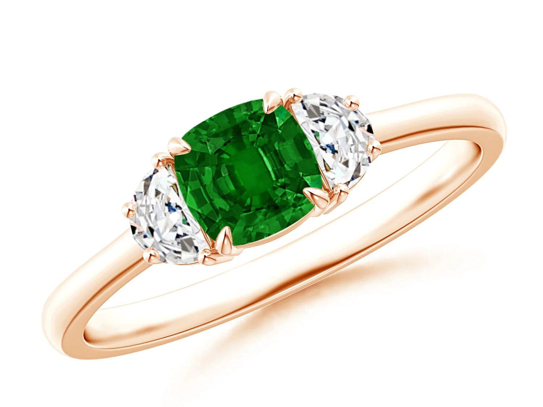 three stone rose gold emerald engagement ring