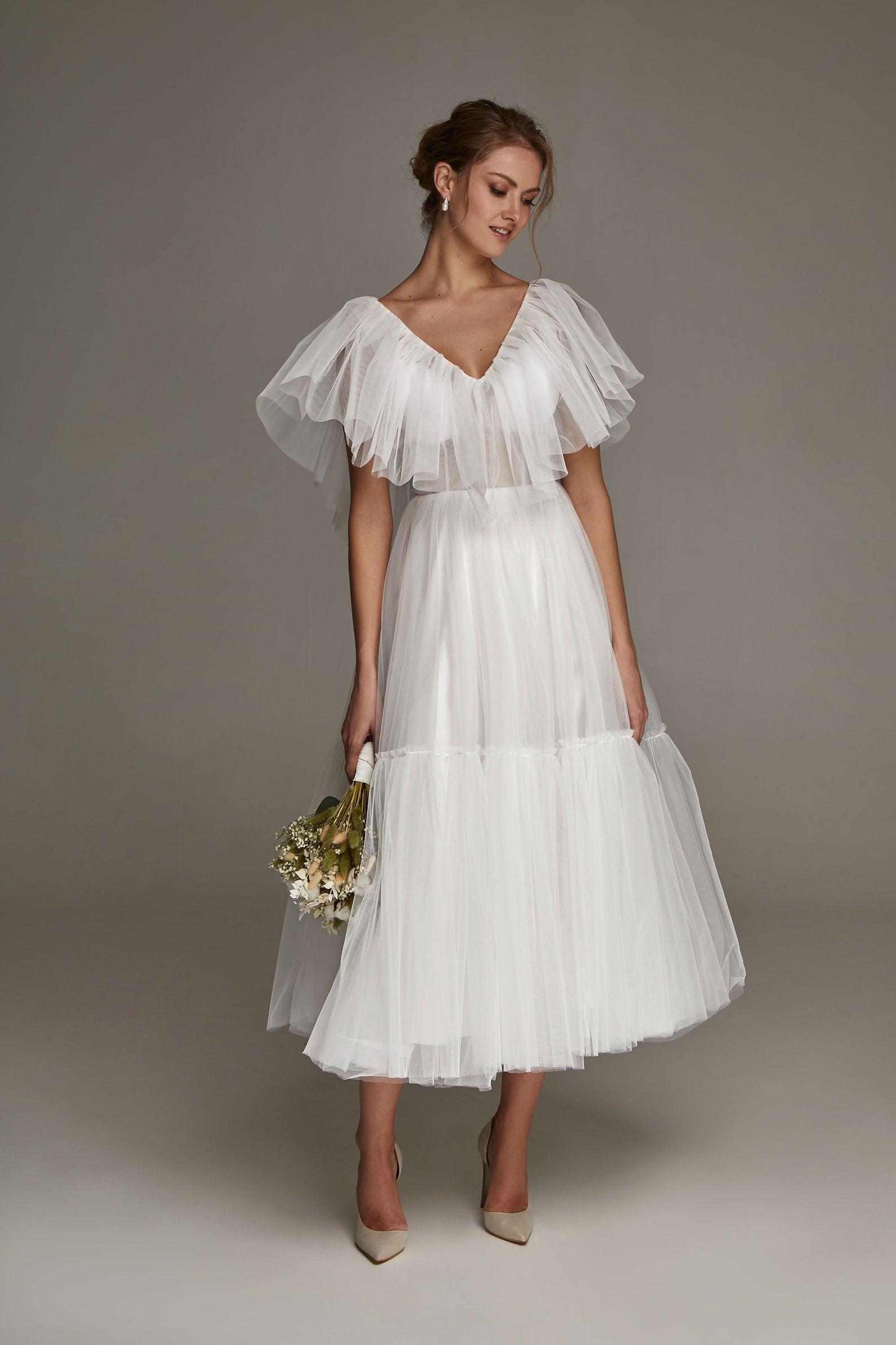 tulle midi wedding dress