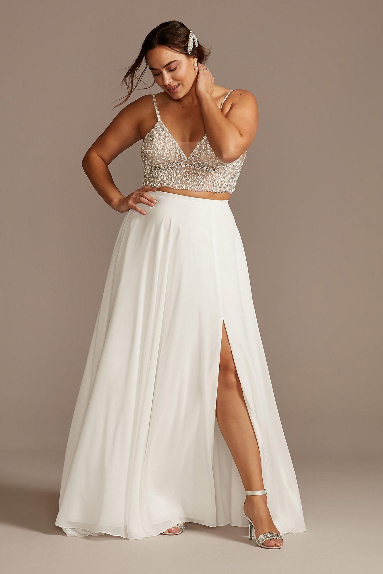 David's Bridal plus two piece wedding dress